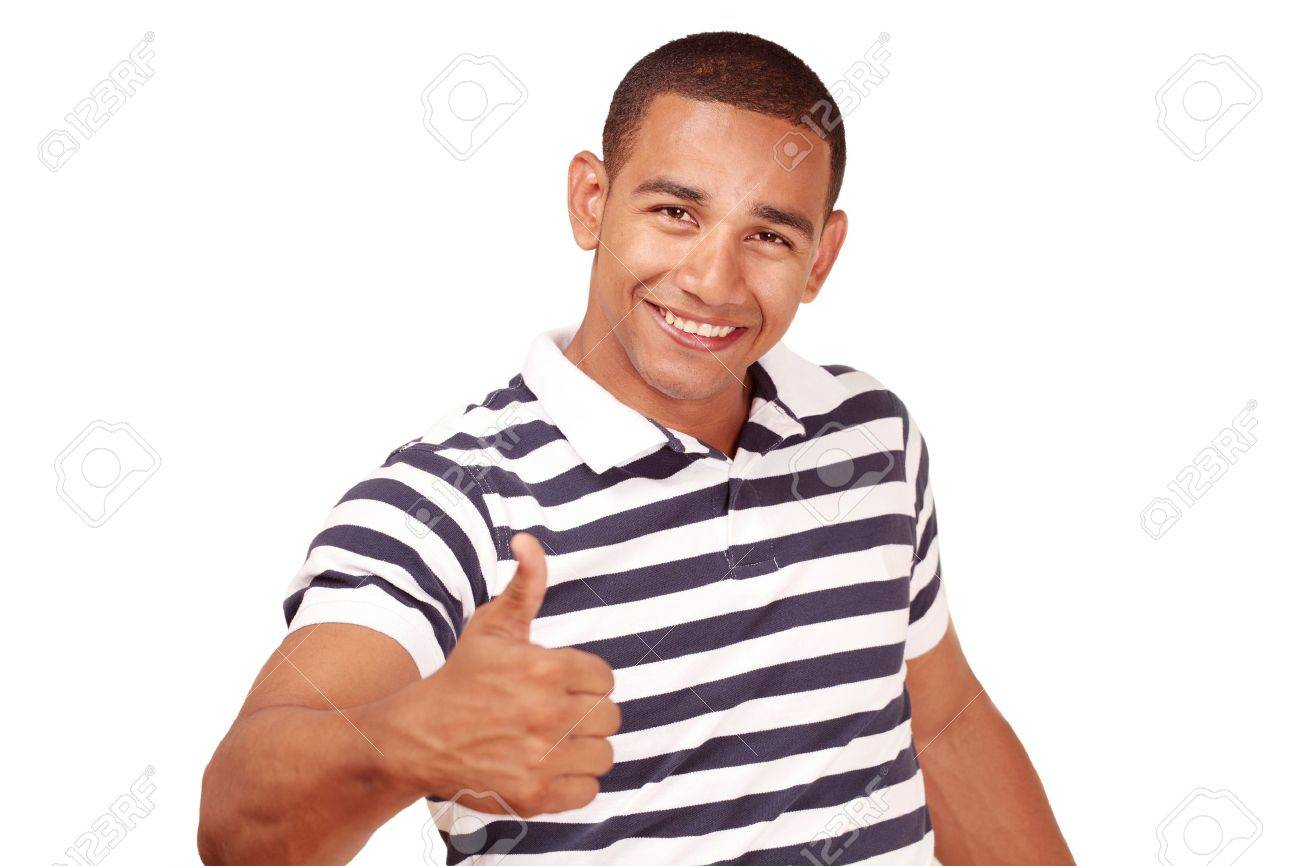 Thumbs up - by smiling confident latino male Stock Photo - 9707108