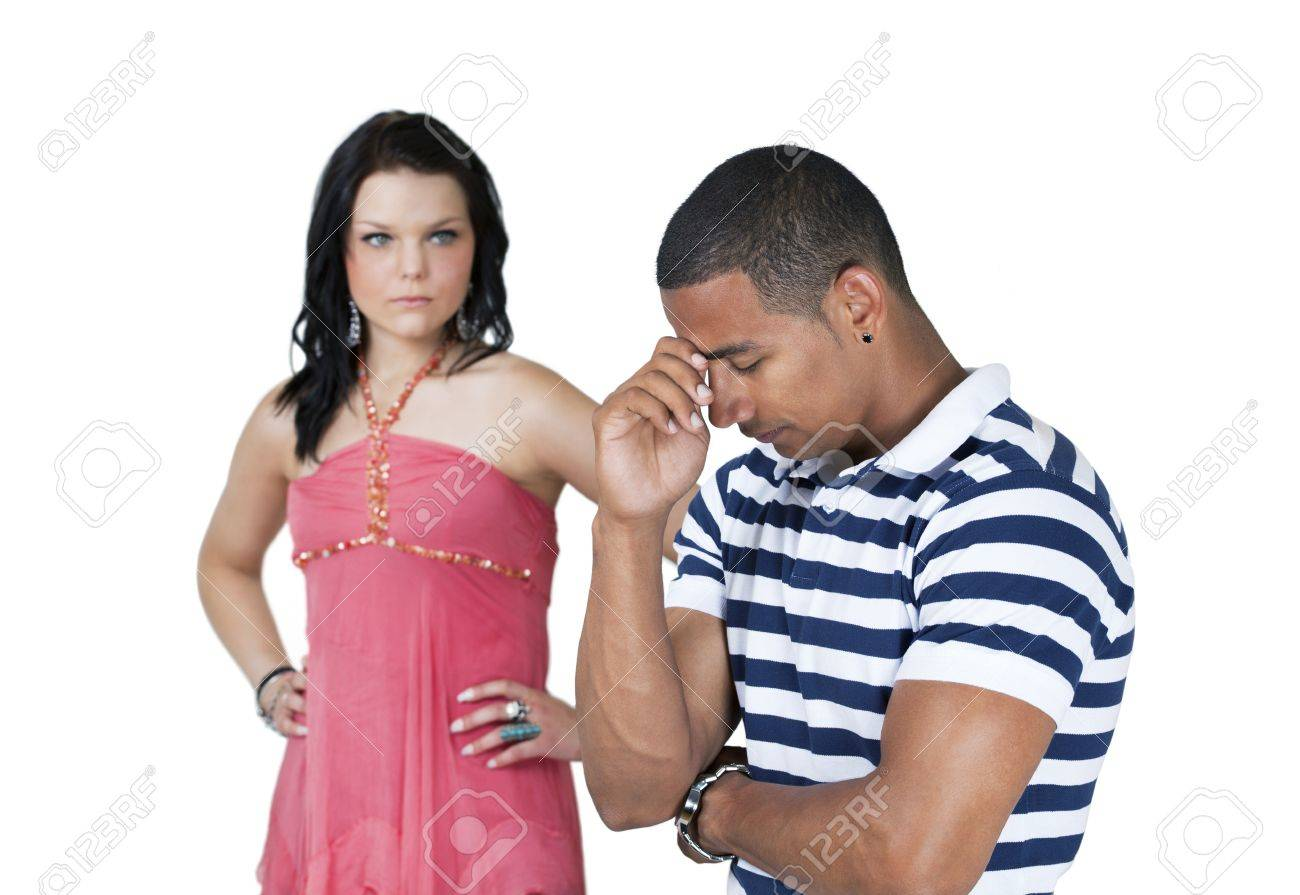 Unhappy couple with focus on man Stock Photo - 11597257