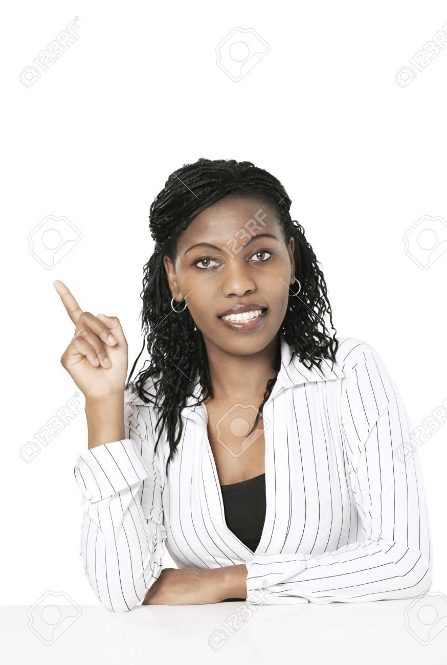 Elegant businesswoman pointing to copy space Stock Photo - 12275584