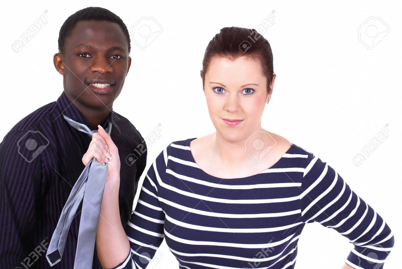 Tough female boss keeping a guy in control Stock Photo - 12275565