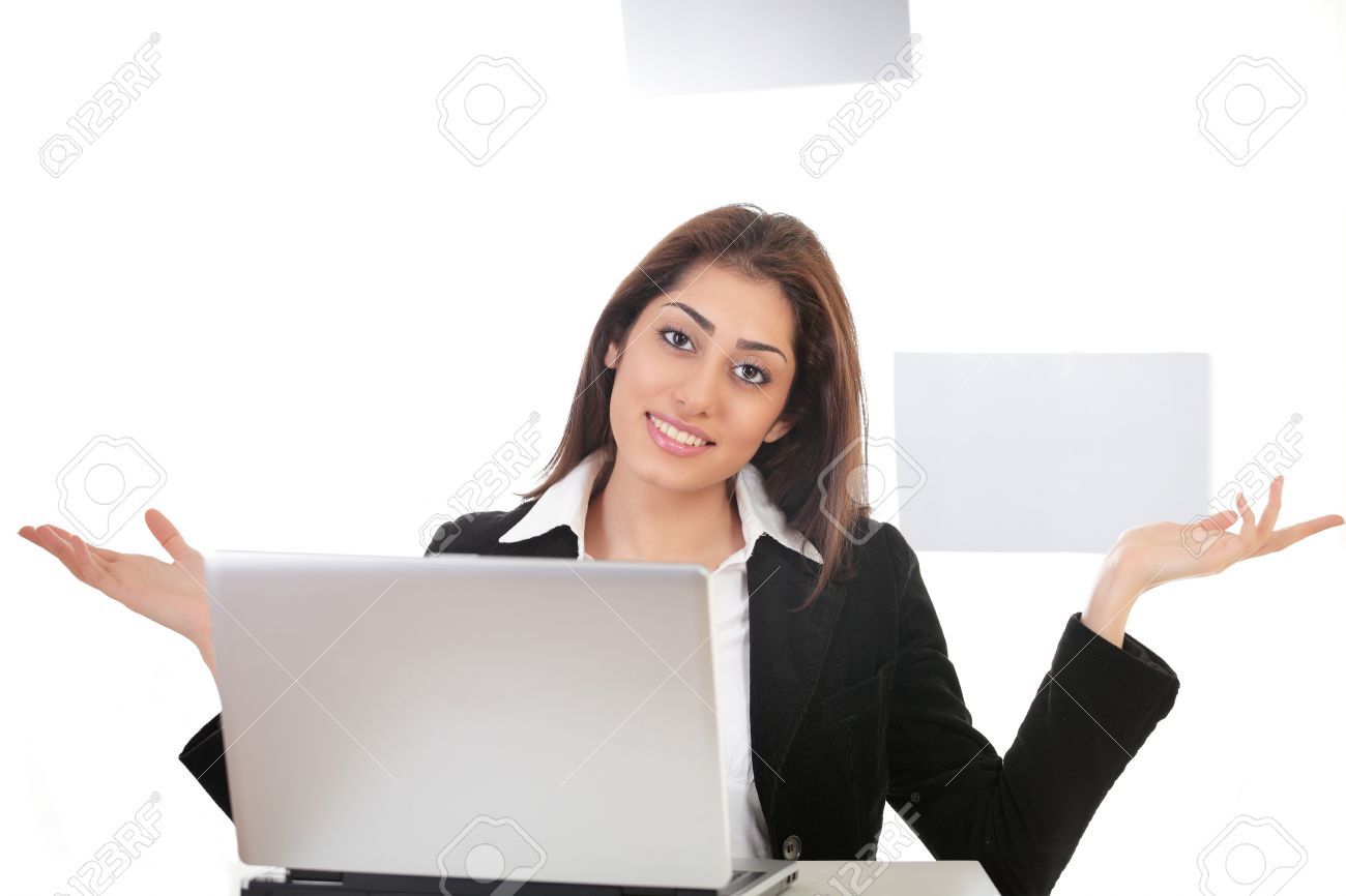 lady with laptop  Pretty Young Lady On Laptop Hand Gesture Stock Photo, Picture And ...