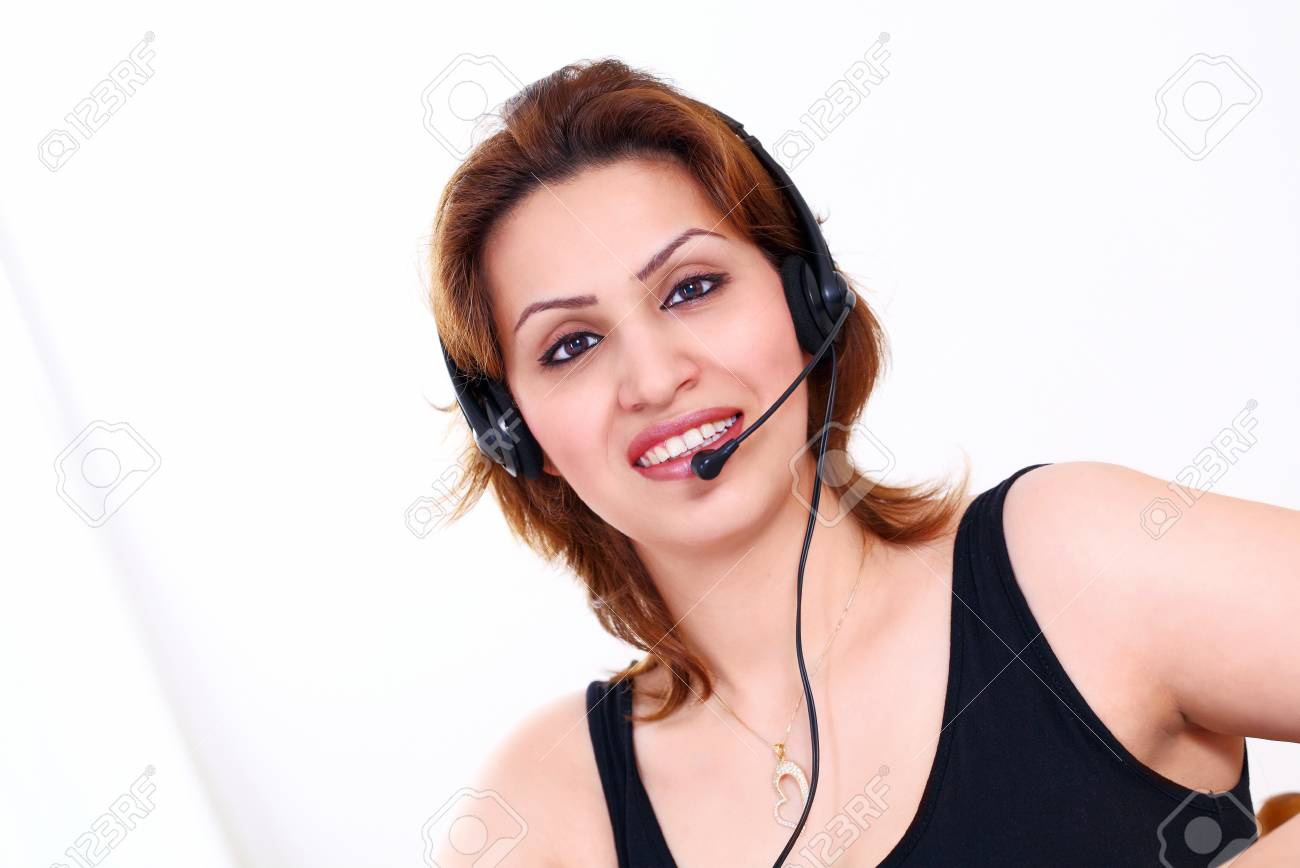Beautiful receptionist or telephone operator with headset Stock Photo - 13196658