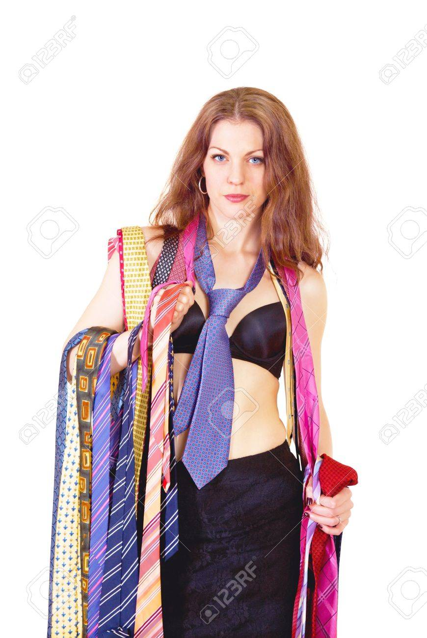 Beautiful young woman with colorful men's ties Stock Photo - 13586923