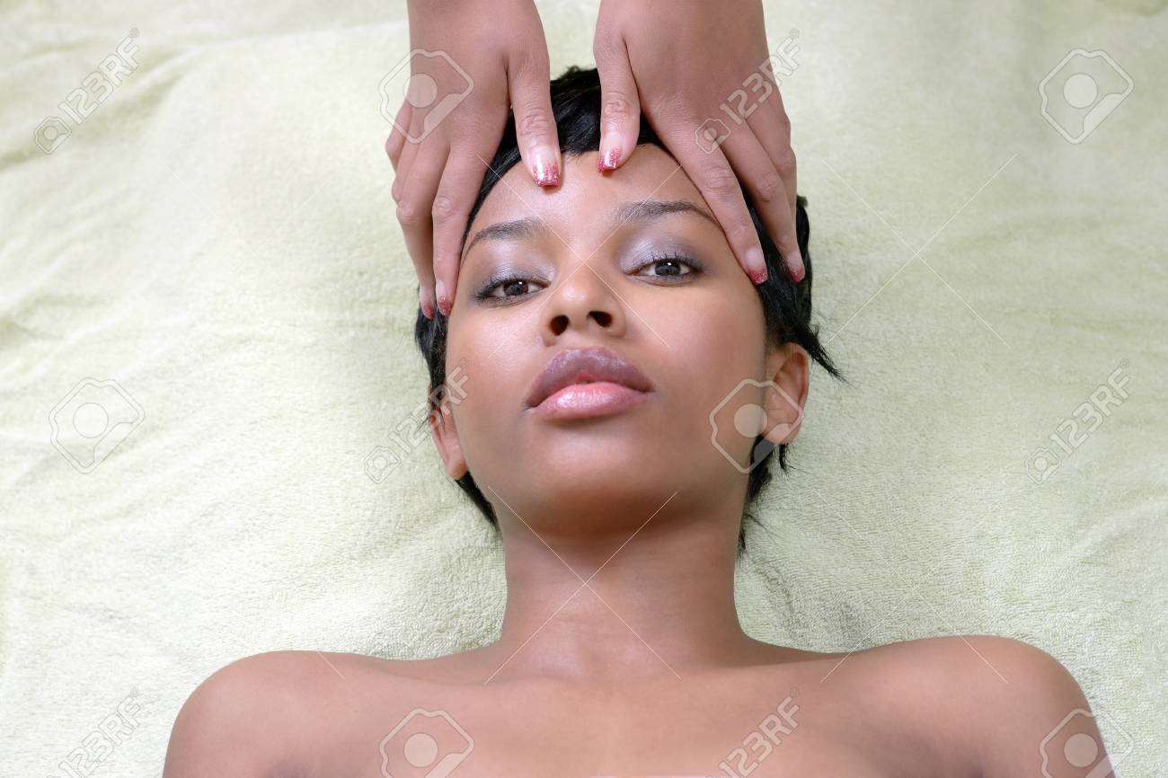 Healing touch massage, beautiful woman in therapy Stock Photo - 14454289