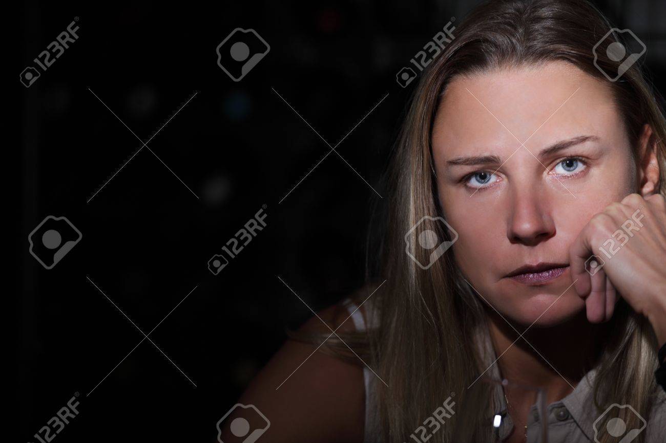 Sad thinking woman with copy space Stock Photo - 15598353