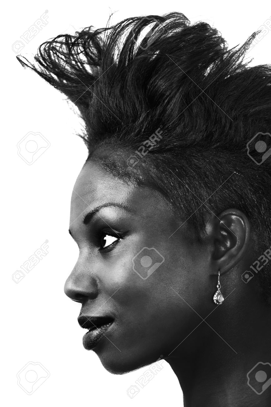 Woman hair fashion a black and white profile