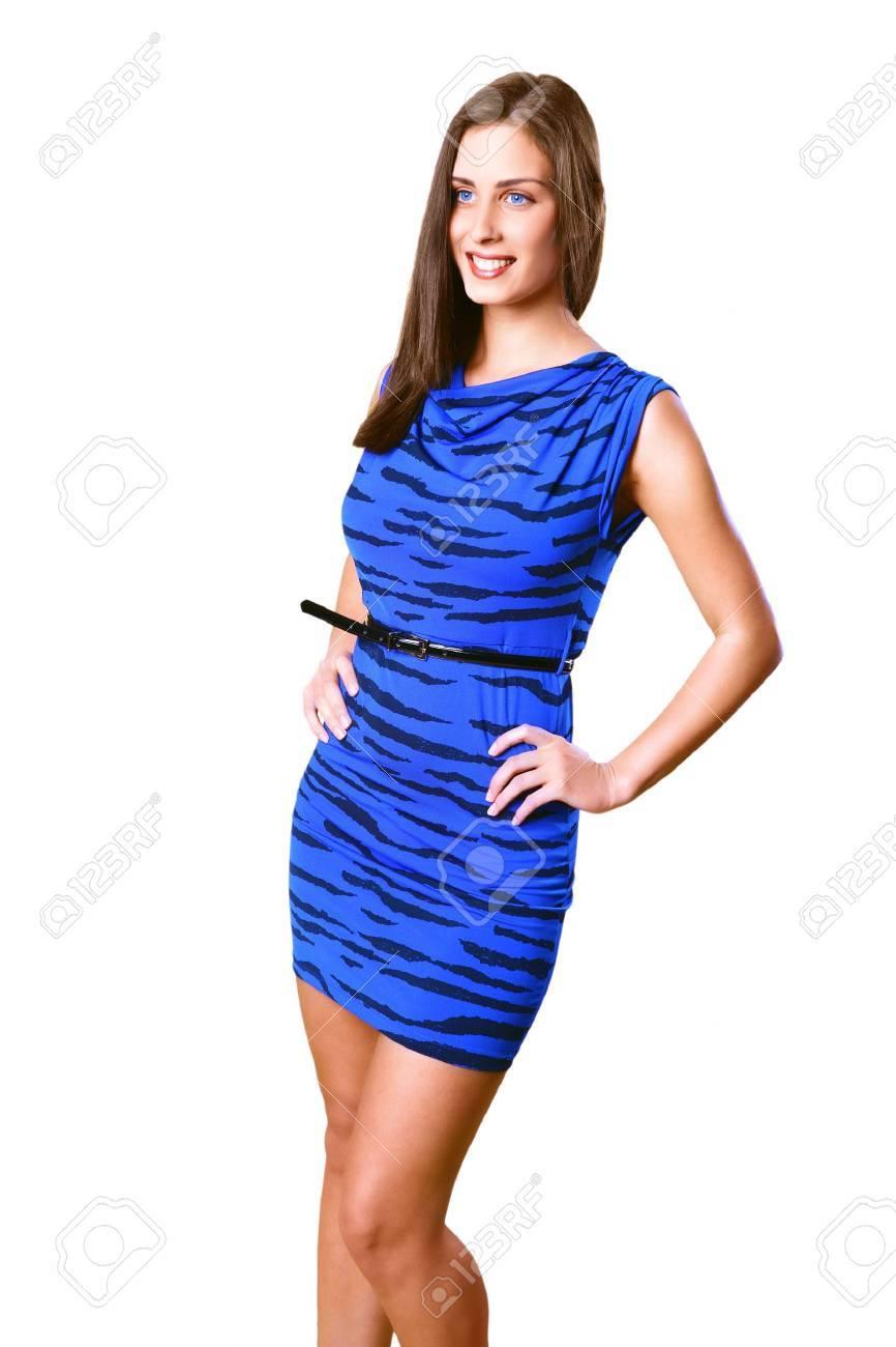 Pretty model posing in blue dress Stock Photo - 17077053