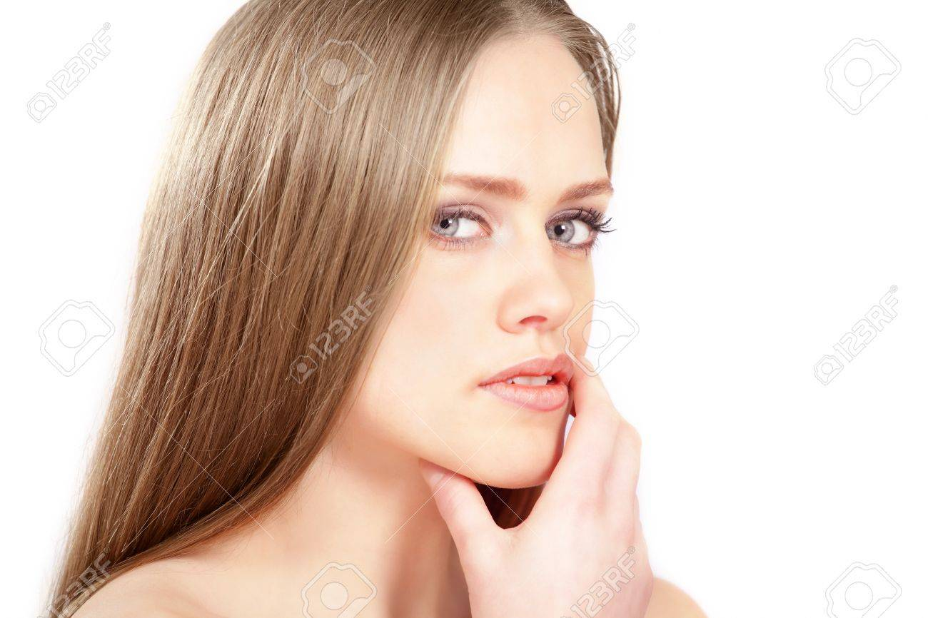 Pretty girl looking to side, thoughtful expression Stock Photo - 17934982