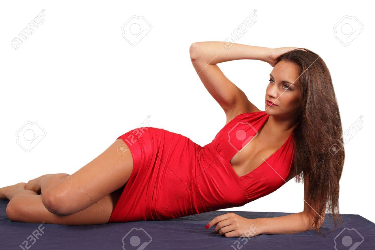 Model in red dress in reclining pose Stock Photo - 22082762  sc 1 st  123RF Stock Photos & Model In Red Dress In Reclining Pose Stock Photo Picture And ... islam-shia.org