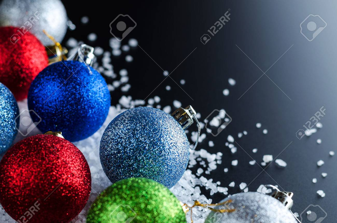 Christmas Background Theme Multi Colored Christmas Balls Red Blue Green