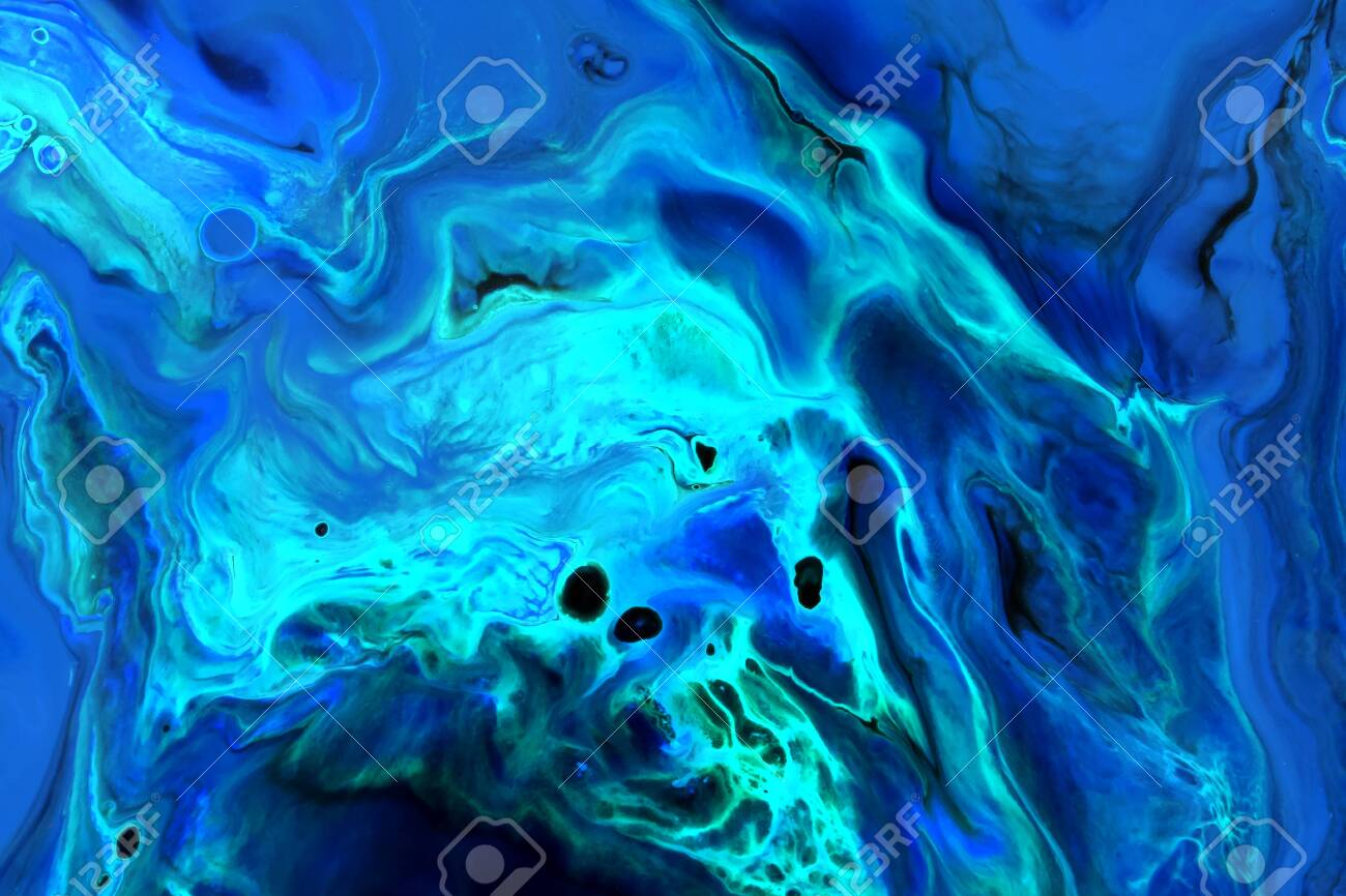 Abstract background of acrylic paint in blue and aquamarine tones - 154766193