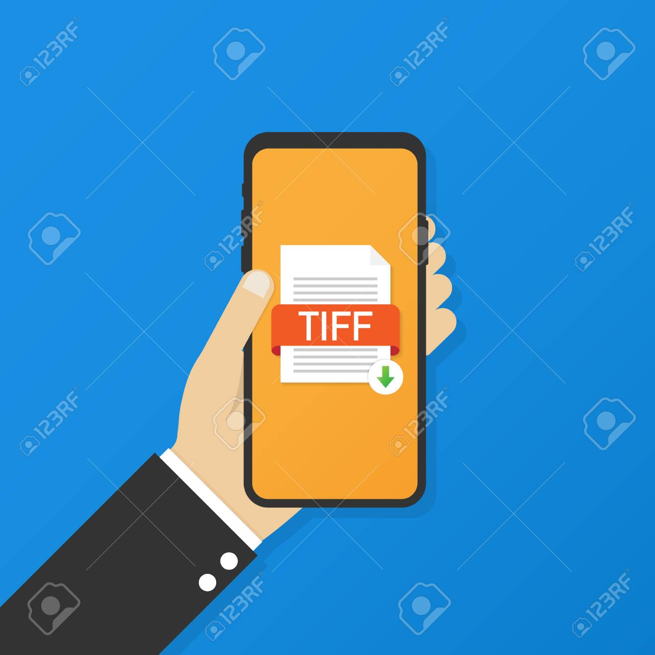 Download tiff button on smartphone screen. Downloading document.