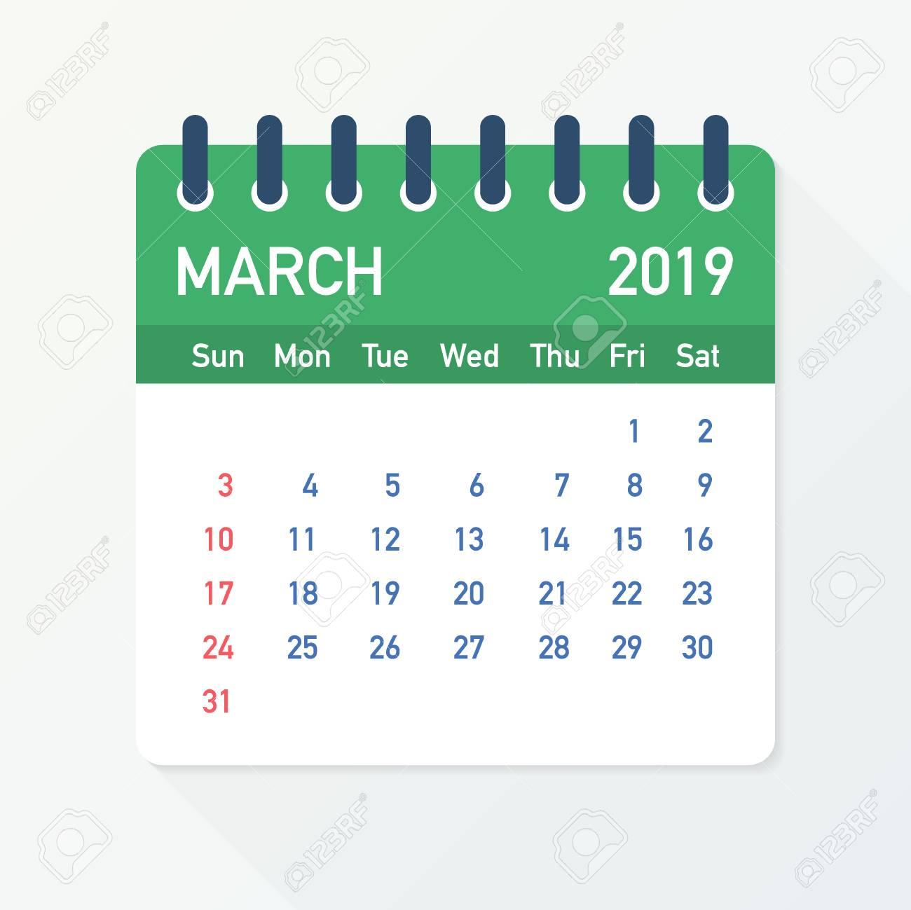 March 2019 Calendar Leaf  Calendar 2019 in flat style  Vector