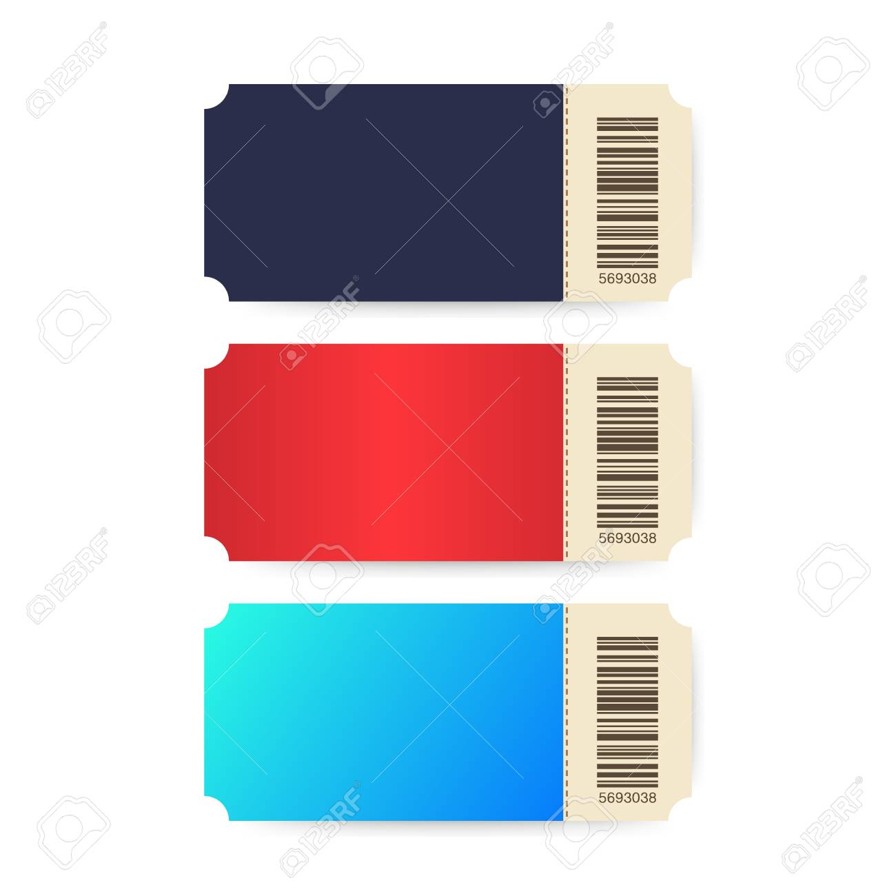 Set Of Ticket Template Tickets Colorful Cinema Ticket Isolated