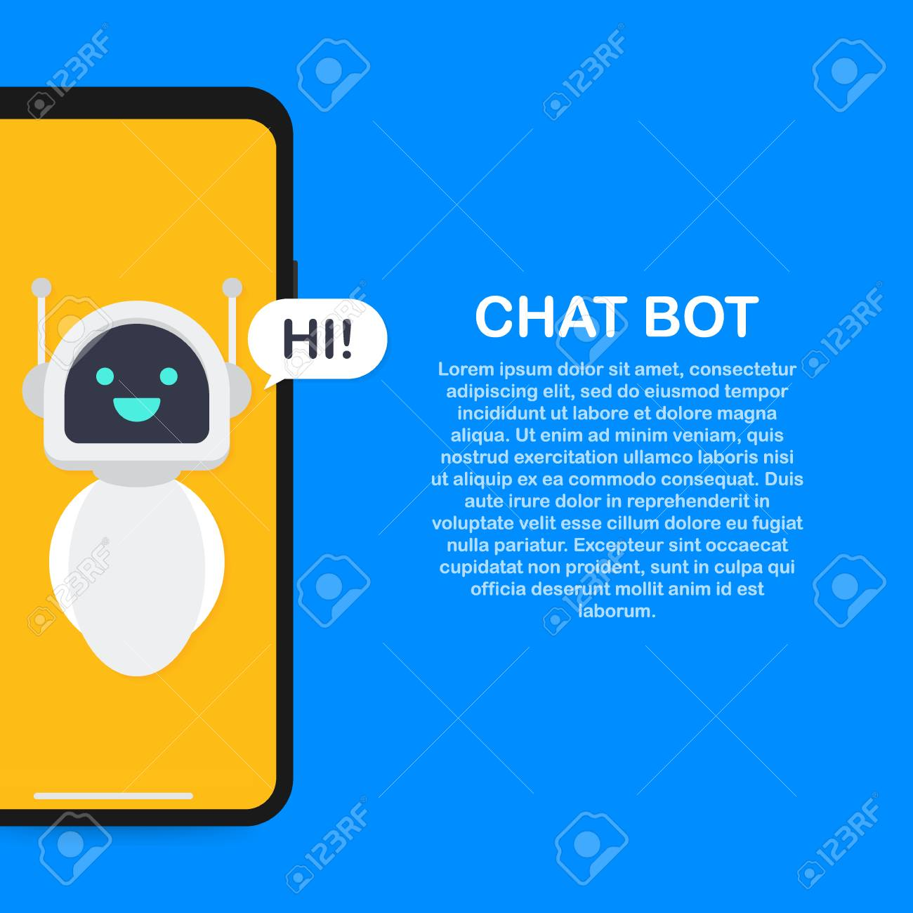 Chatbot banner concept  Horizontal business banner template with