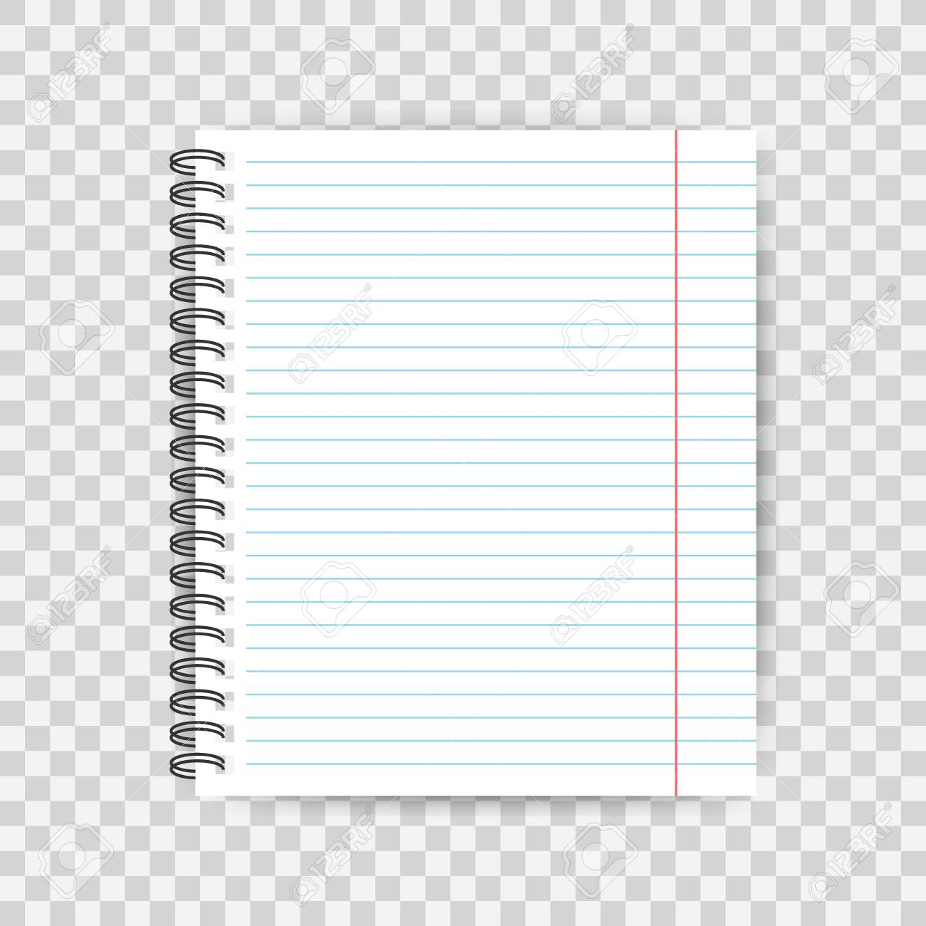 Blank Lined Paper Template One Page Notebook End Exercise Book