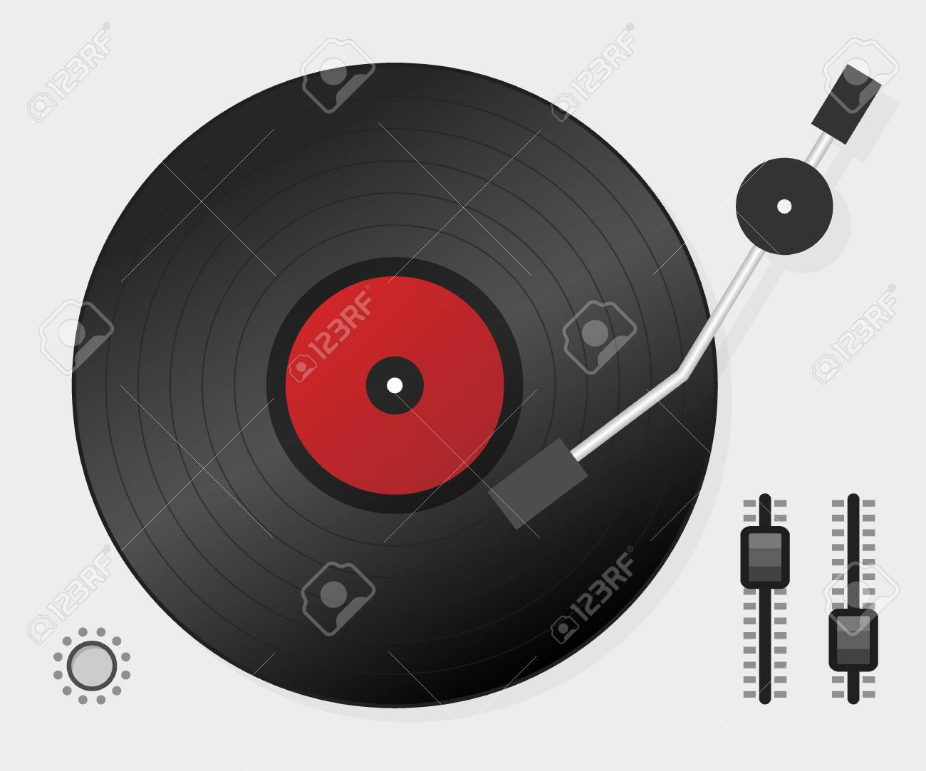 DJ playing vinyl. Top view. DJ Interface workspace mixer console turntables. Vector stock illustration. - 115091721