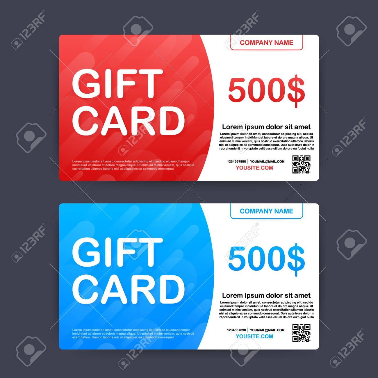 Template red and blue gift card. 500 dollars voucher. Vector stock illustration. - 120832483