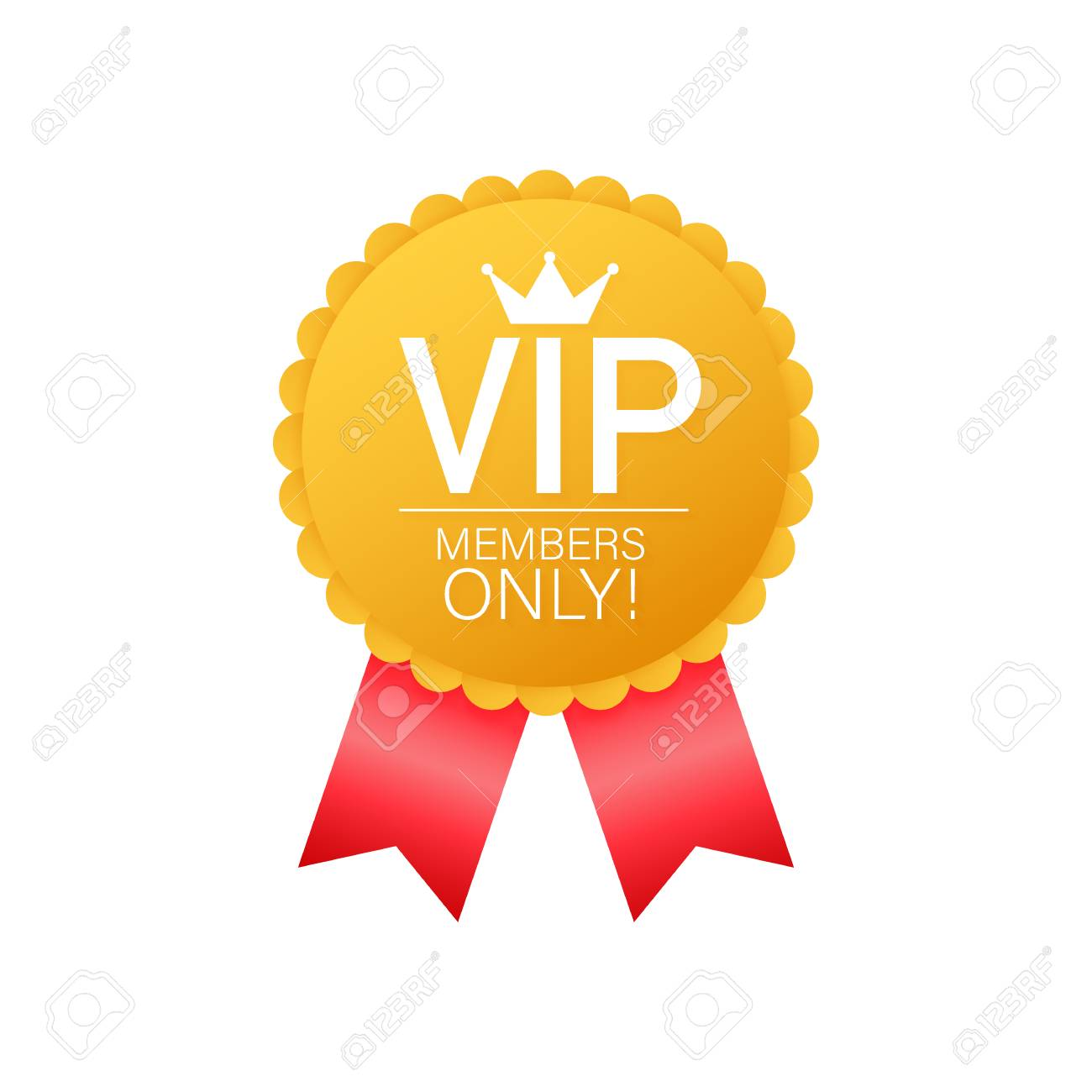 VIP, Members Only Gold ribbon, label  Gold and luxury, membership