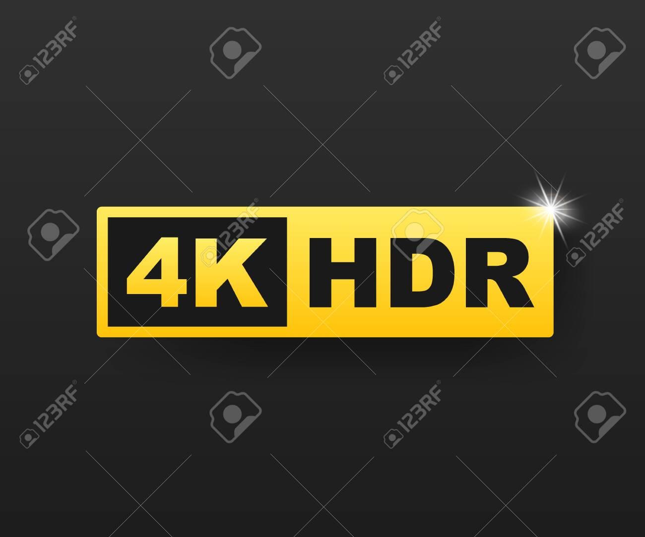 4K Ultra HD symbol, High definition 4K resolution mark, HDR. Vector stock illustration. - 122351122