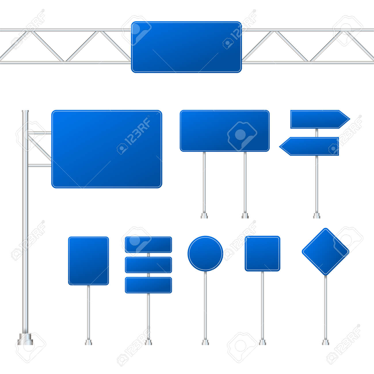 Set of blue road signs isolated on transparent background. Vector stock illustration. - 132982112