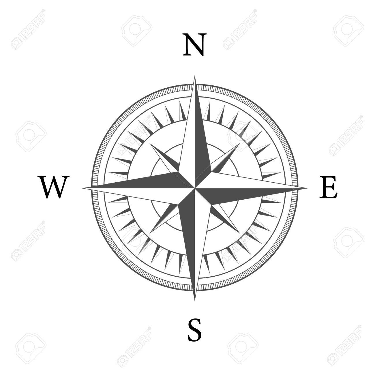 Compass on white background. Flat vector navigation symbol. Vector stock illustration - 142346560