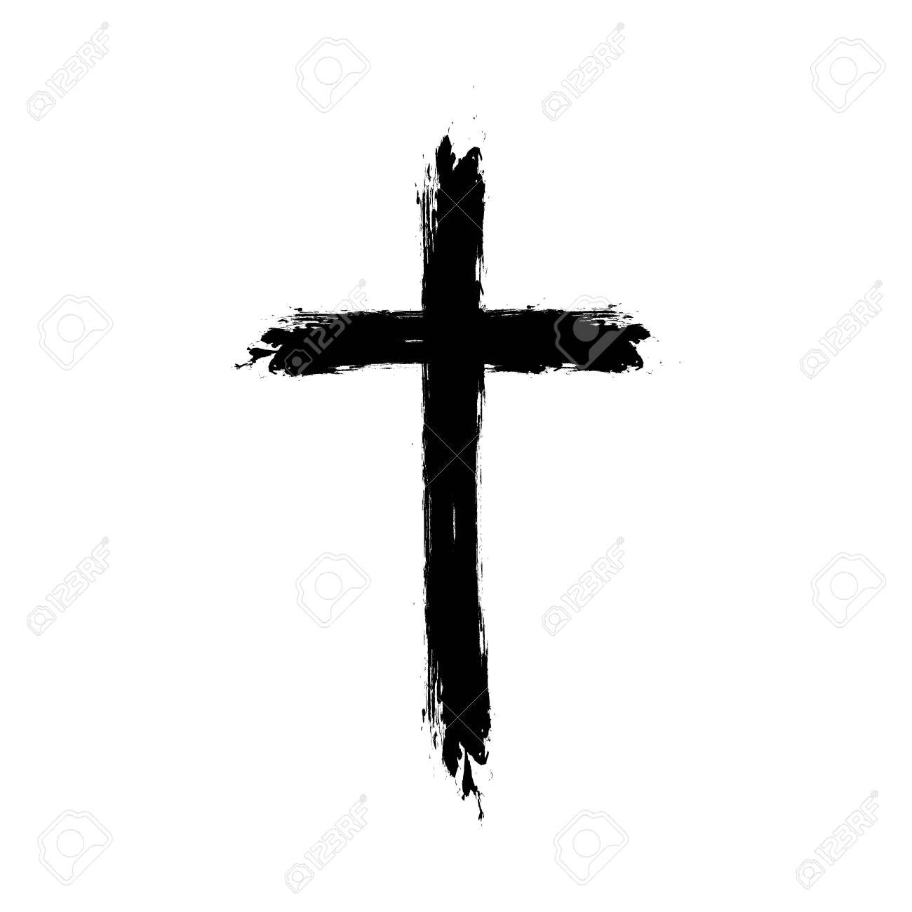 Vector cross silhouette with blood and shadow. Vector stock illustration. - 145292158