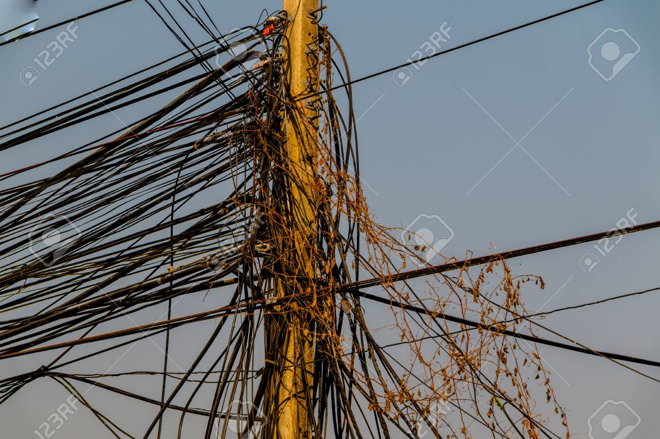 Electric Power lines are not working on a power pole tangled