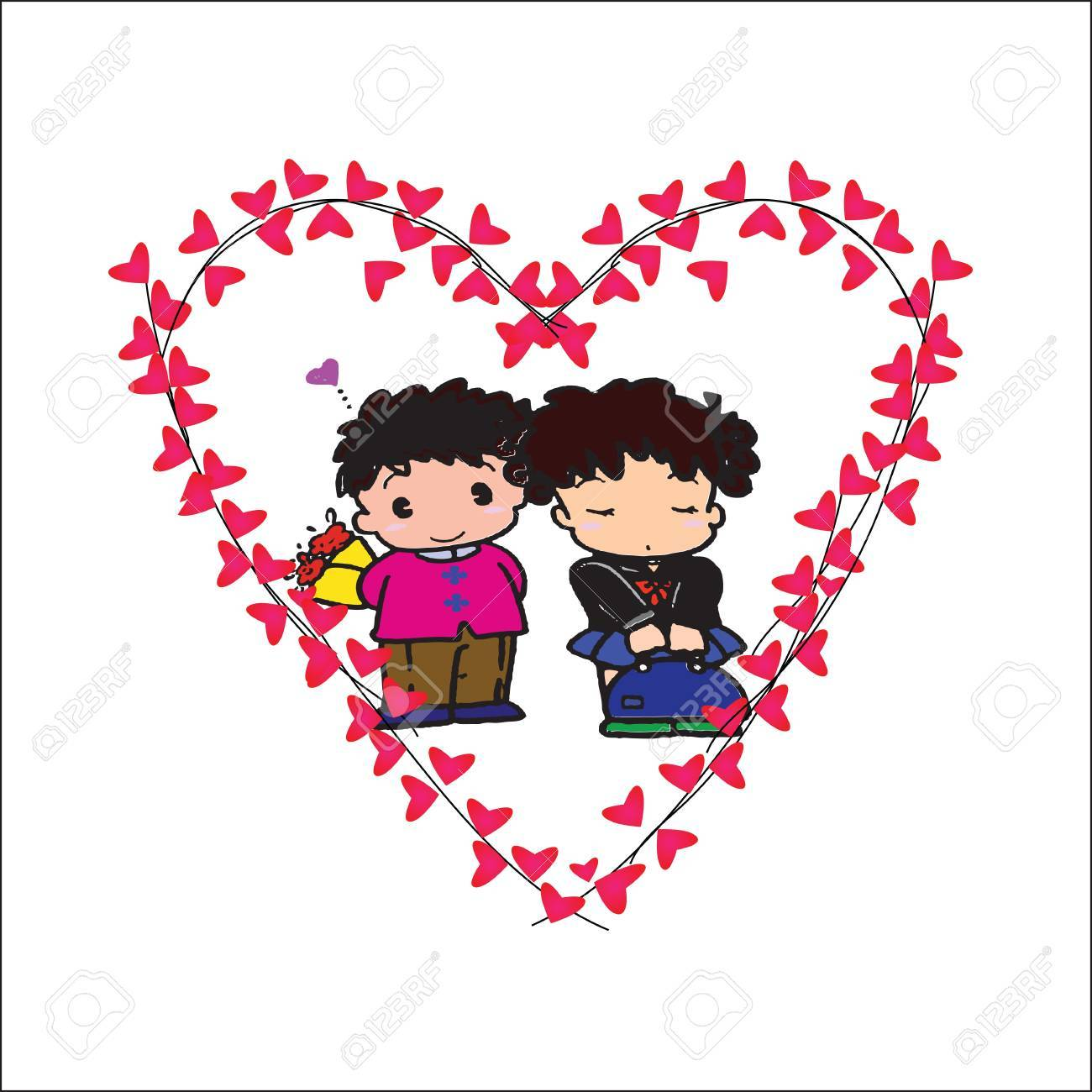 Couple Of Frame In Heart On White Background Stock Photo, Picture ...
