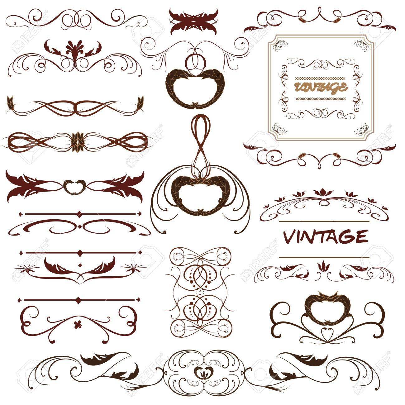 Vector Set. Calligraphic Design Elements And Page Decoration ...