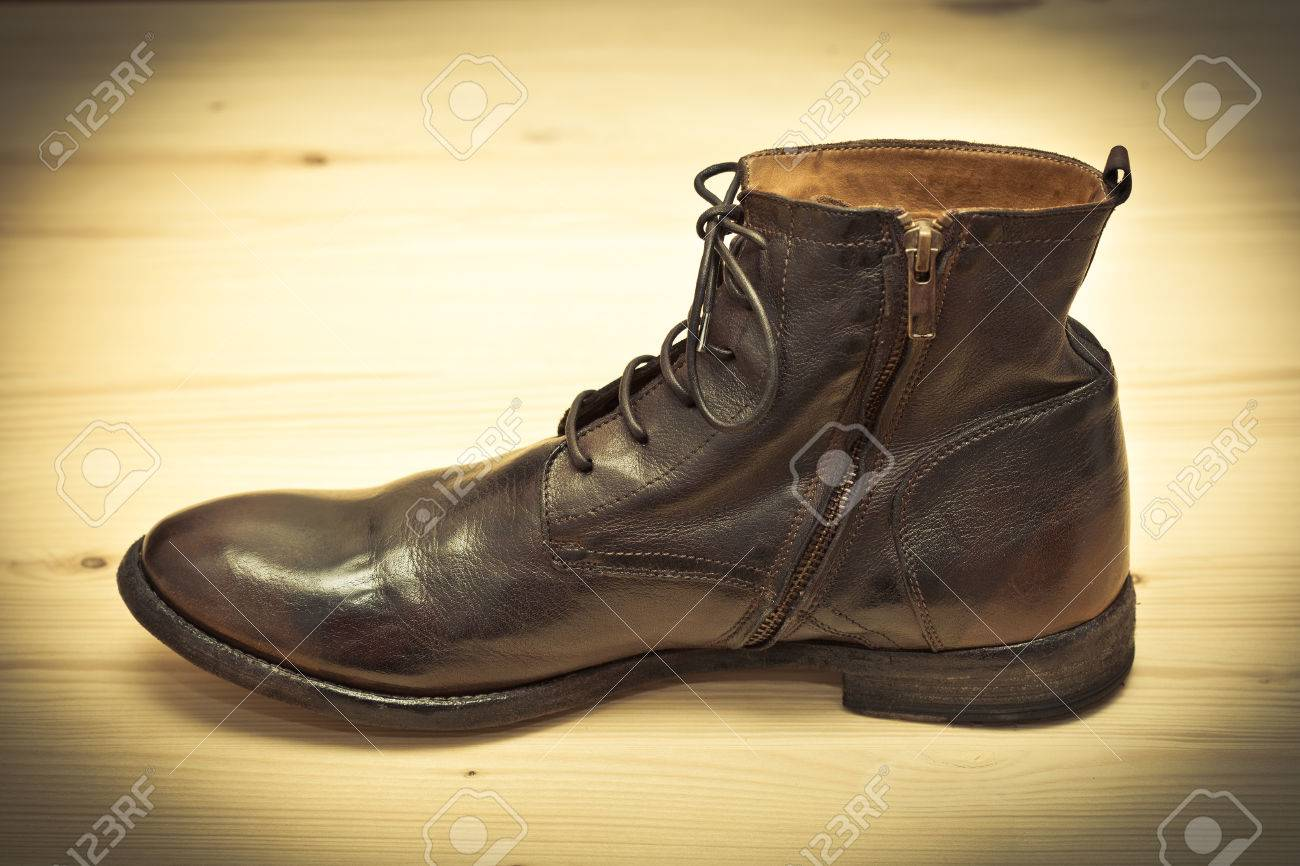 b4d2873226af07 Fashionable men shoes. Retro style. Old school shoes handmade Stock Photo -  34629143