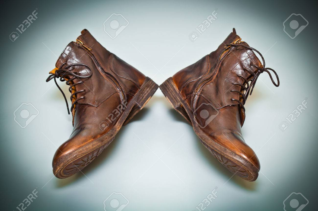 ecf65675a375 cool men leather shoes handmade. old school shoes top view Stock Photo -  34631410