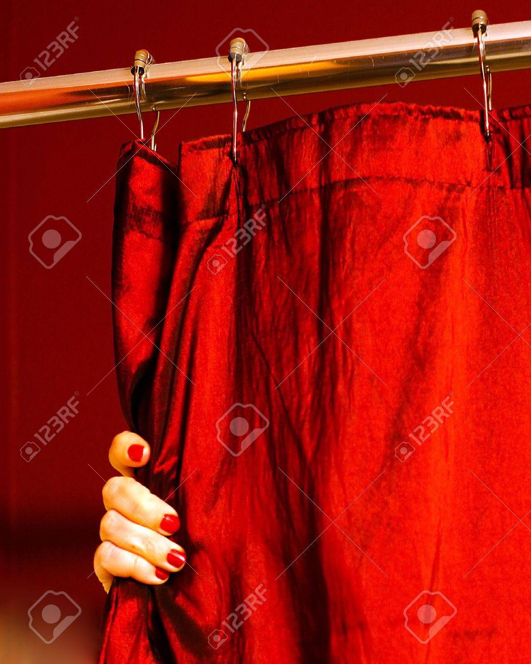 Red shower curtain - A Portrait Photograph Of A Woman S Hand With Painted Finger Nails Holding A Red Shower Curtain