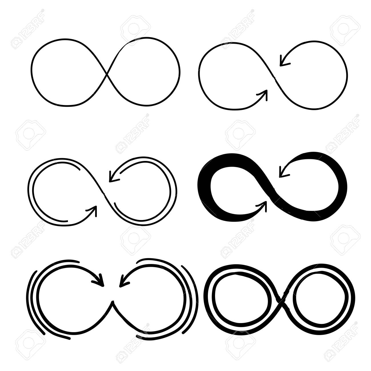 Eternity icon. Mobius line vector logo infinity symbols with handdrawn doodle style vector - 137778838