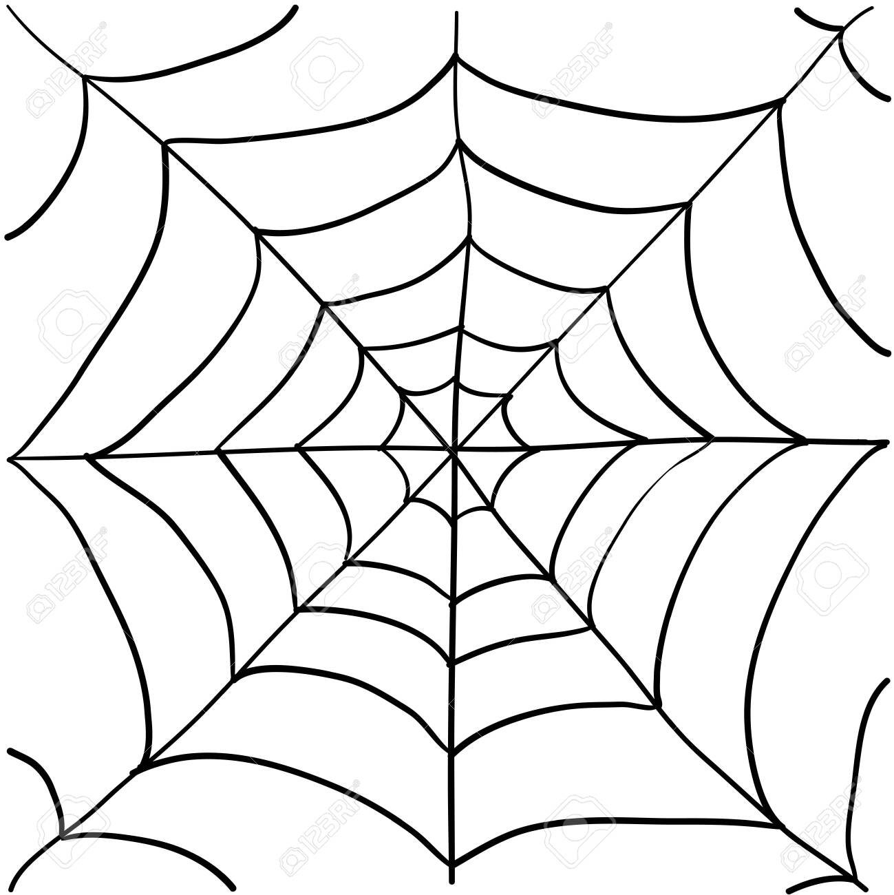 spider web illustration with handddrawn doodle style - 136790098