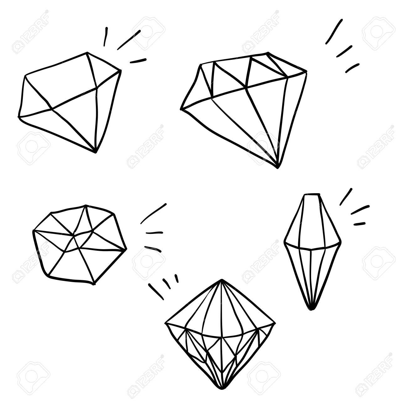 doodle diamond illustration vector with hand drawn cartoon style vector - 137781554