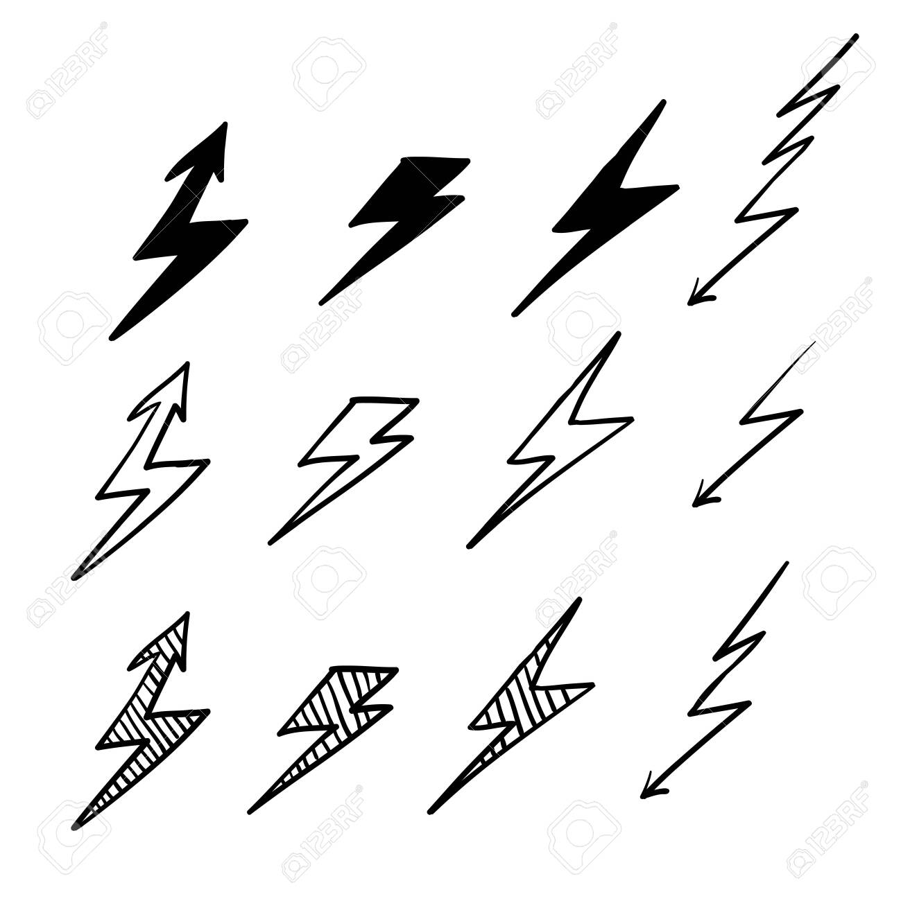 set lightning bolt thunderbolt lightning strike doodle hand royalty free cliparts vectors and stock illustration image 137781931 set lightning bolt thunderbolt lightning strike doodle hand