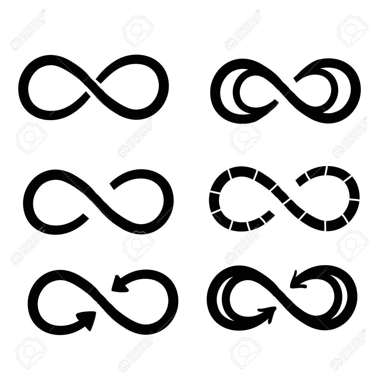 Infinity symbols. Eternal, limitless, endless, life logo or tattoo concept.hand drawn doodle style vector isolated - 137782493