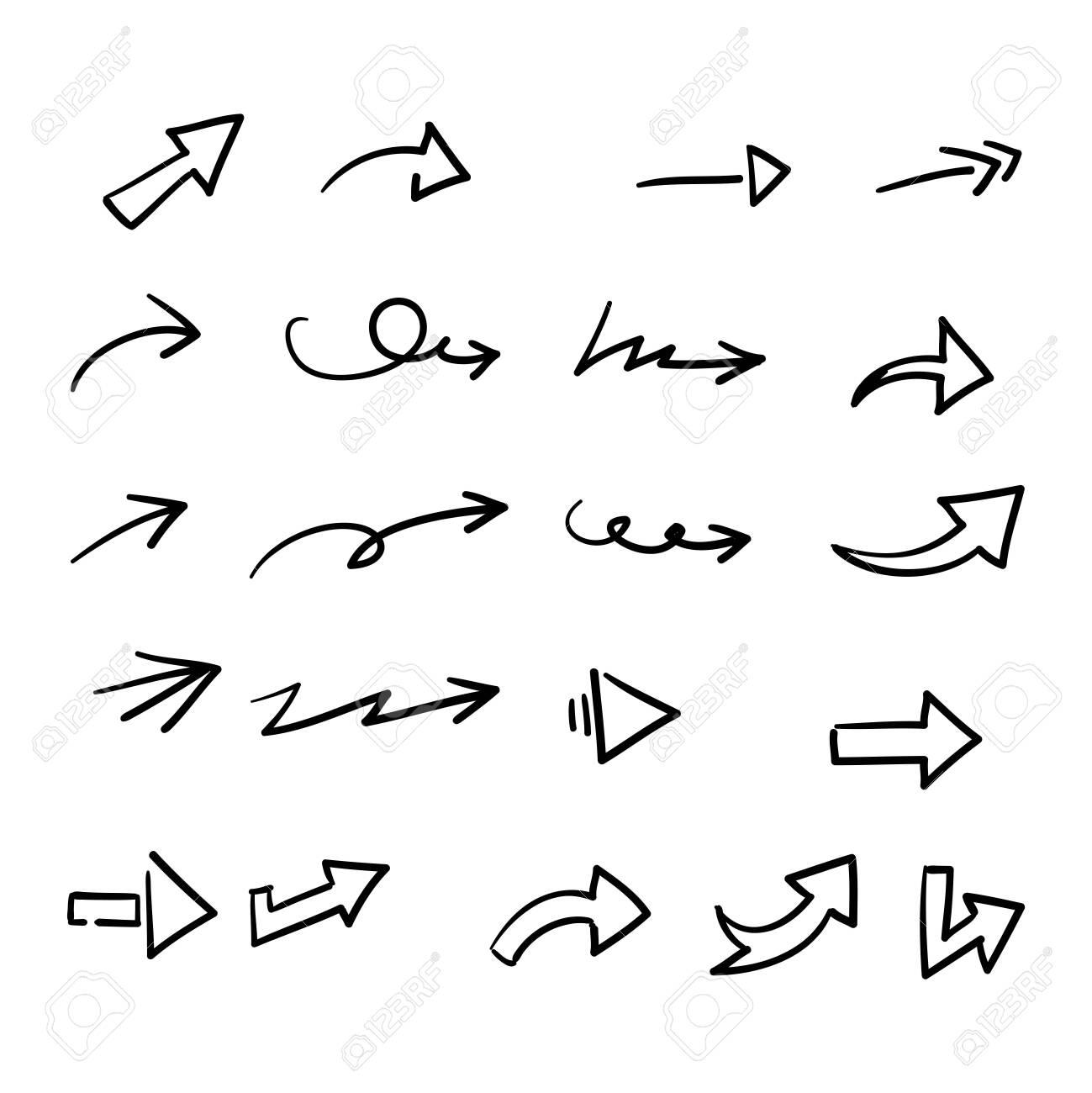 hand drawn doodle arrow collection icon vector - 153517566