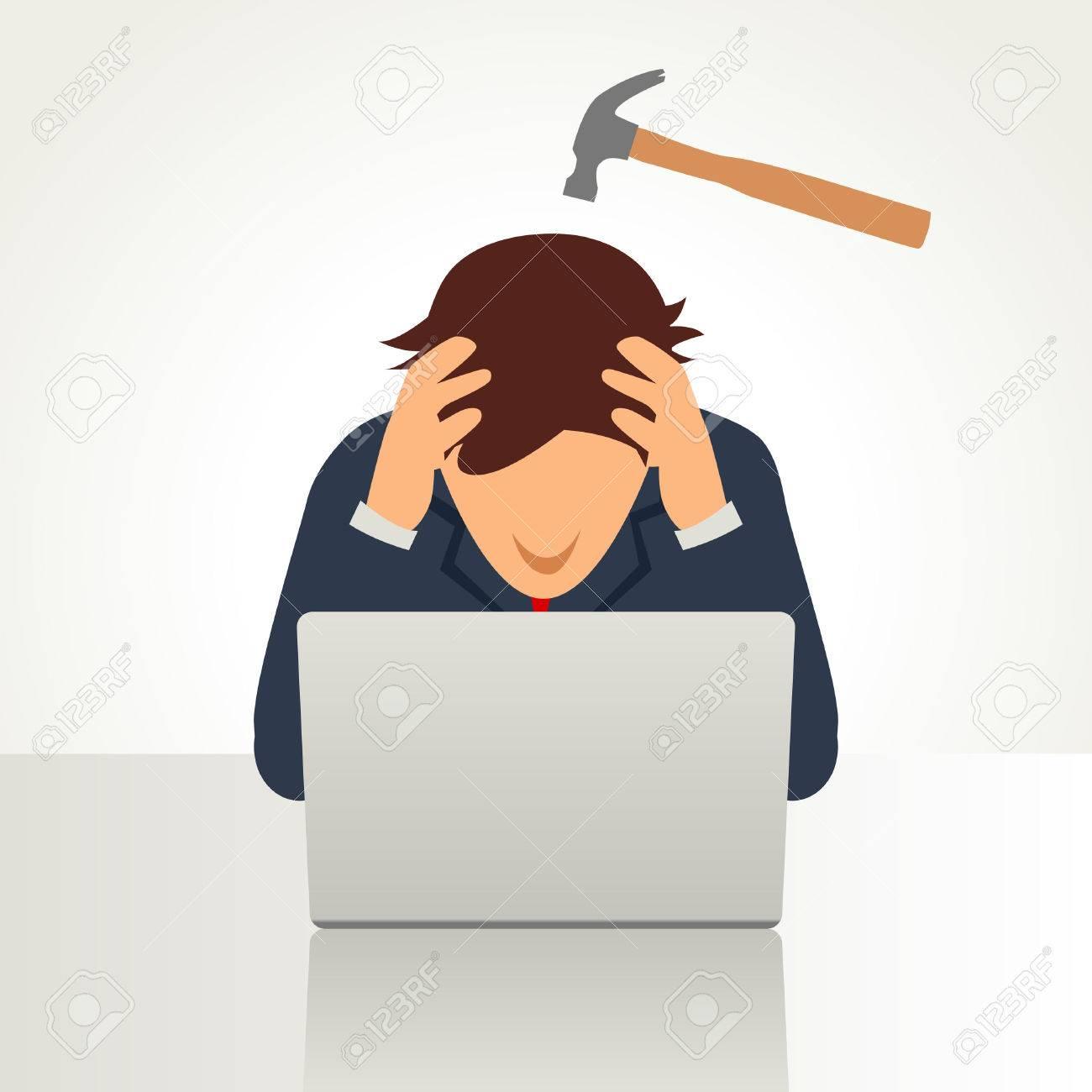 Simple cartoon of a businessman having a headache symbolize by a hammer on his head - 50934588