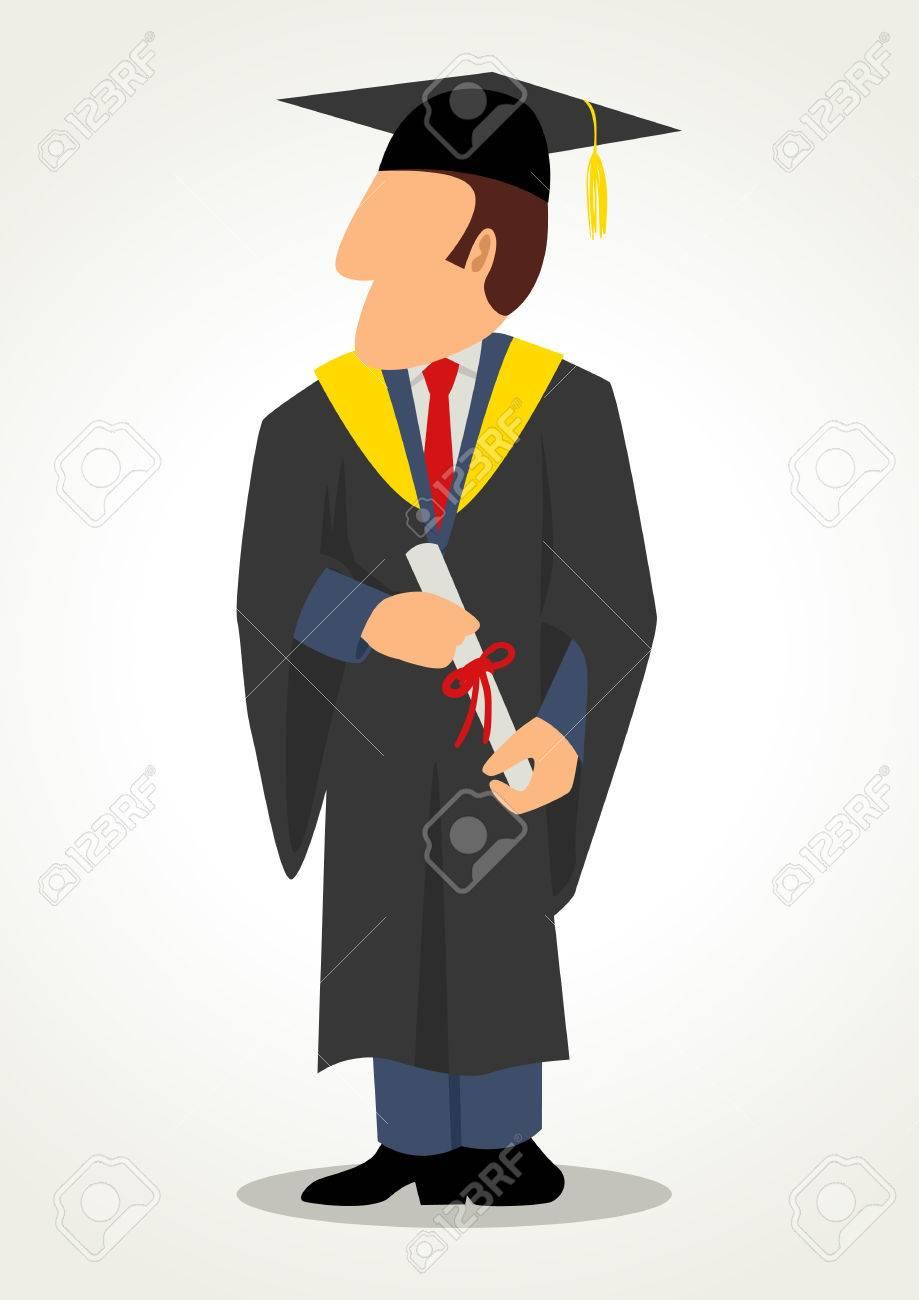 Simple Cartoon Of A Male In Graduation Gown. Toga, Graduate ...