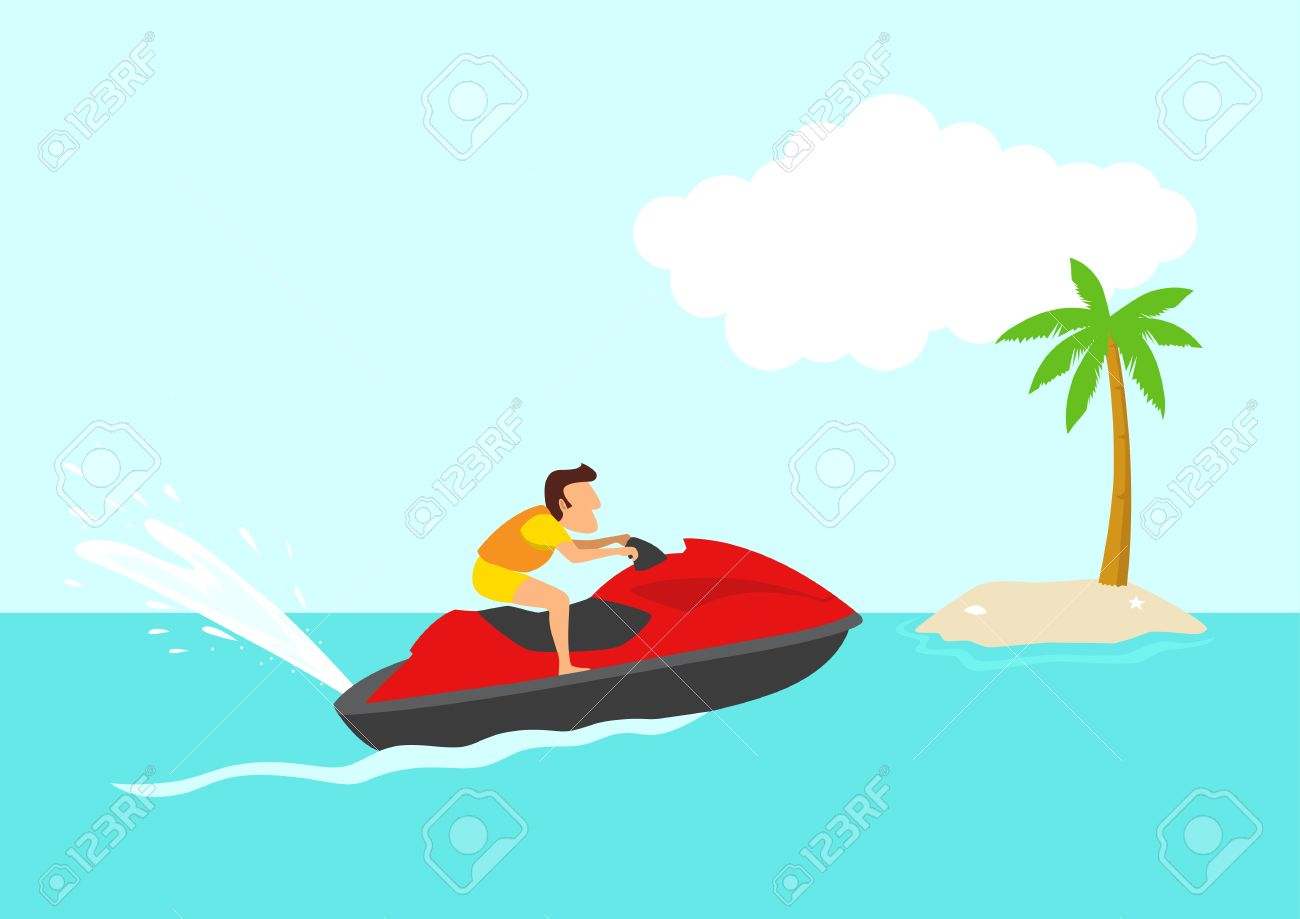 Simple Cartoon Of A Man On A Jet Ski Summer Holiday Tropical Royalty Free Cliparts Vectors And Stock Illustration Image 57493248