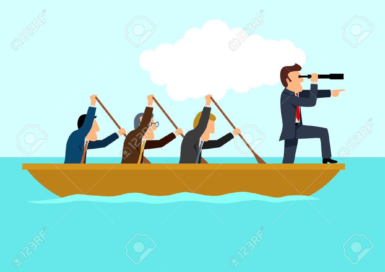 Simple cartoon of businessmen rowing the boat, teamwork, success, leadership concept - 57493254