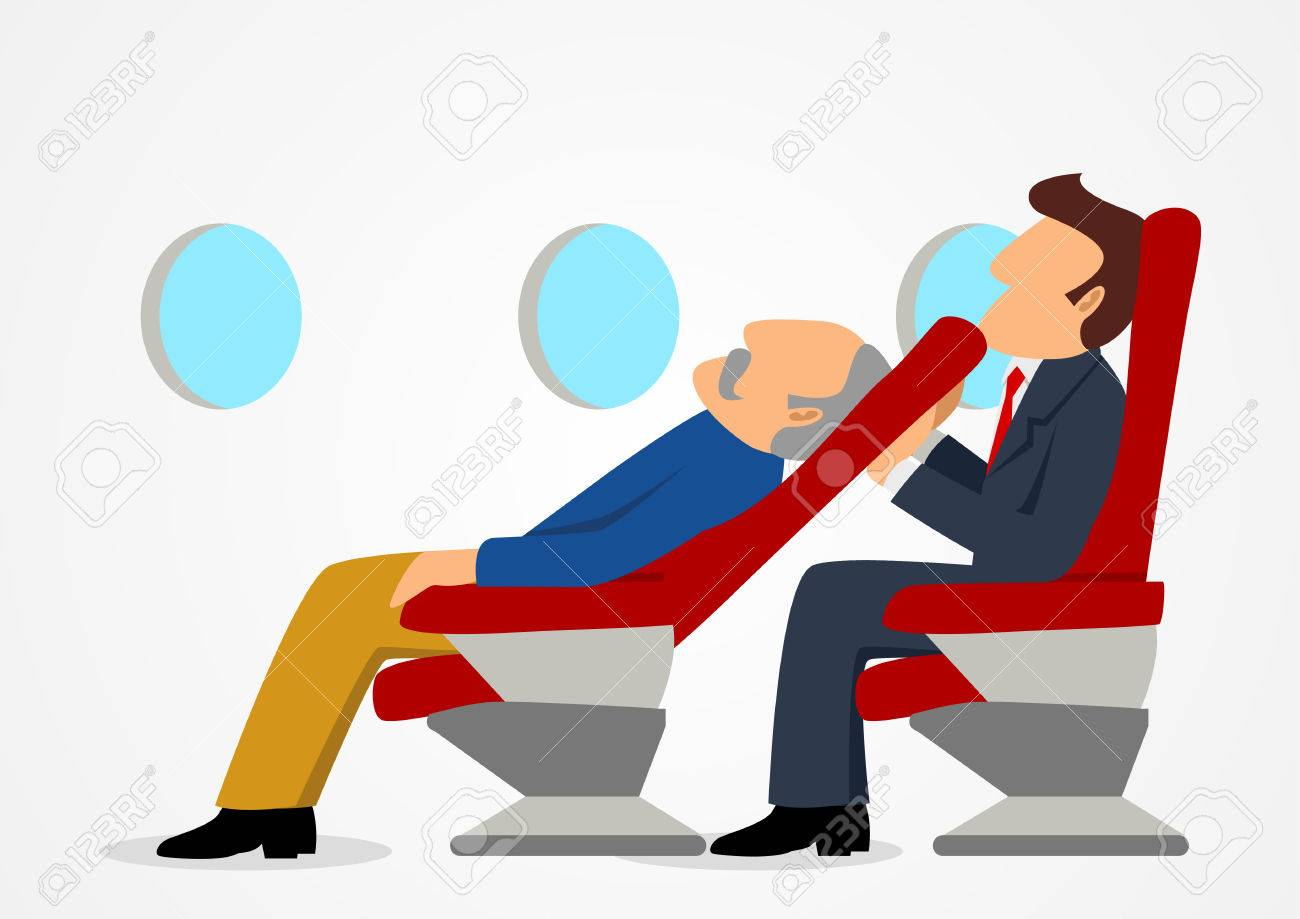 Uncomfortable Chair In Simple Cartoon Of Passenger Sitting Uncomfortable Against Sleeping Old Manu0027s Chair On An Airplane Stock Cartoon Of Passenger Sitting Uncomfortable Against Sleeping