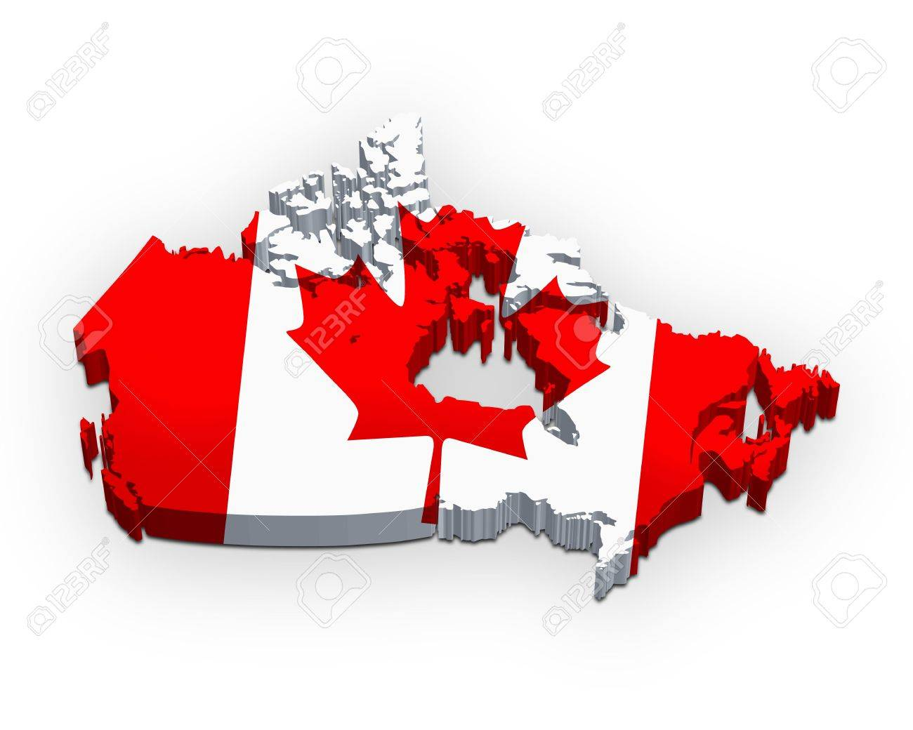 3d Map Of Canada 3d Map Of Canada (flag Style) Stock Photo, Picture And Royalty