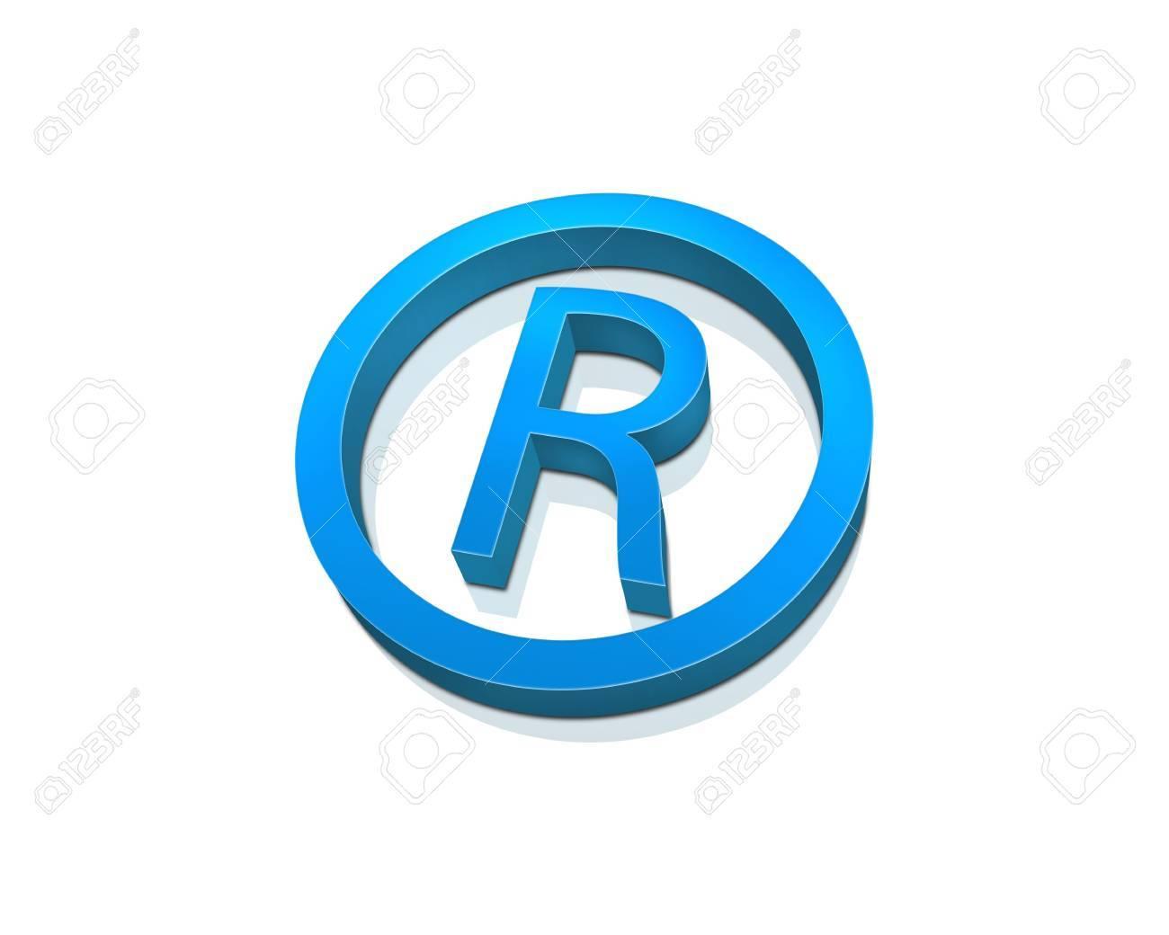 blue registered symbol isolated on white stock photo 5736042