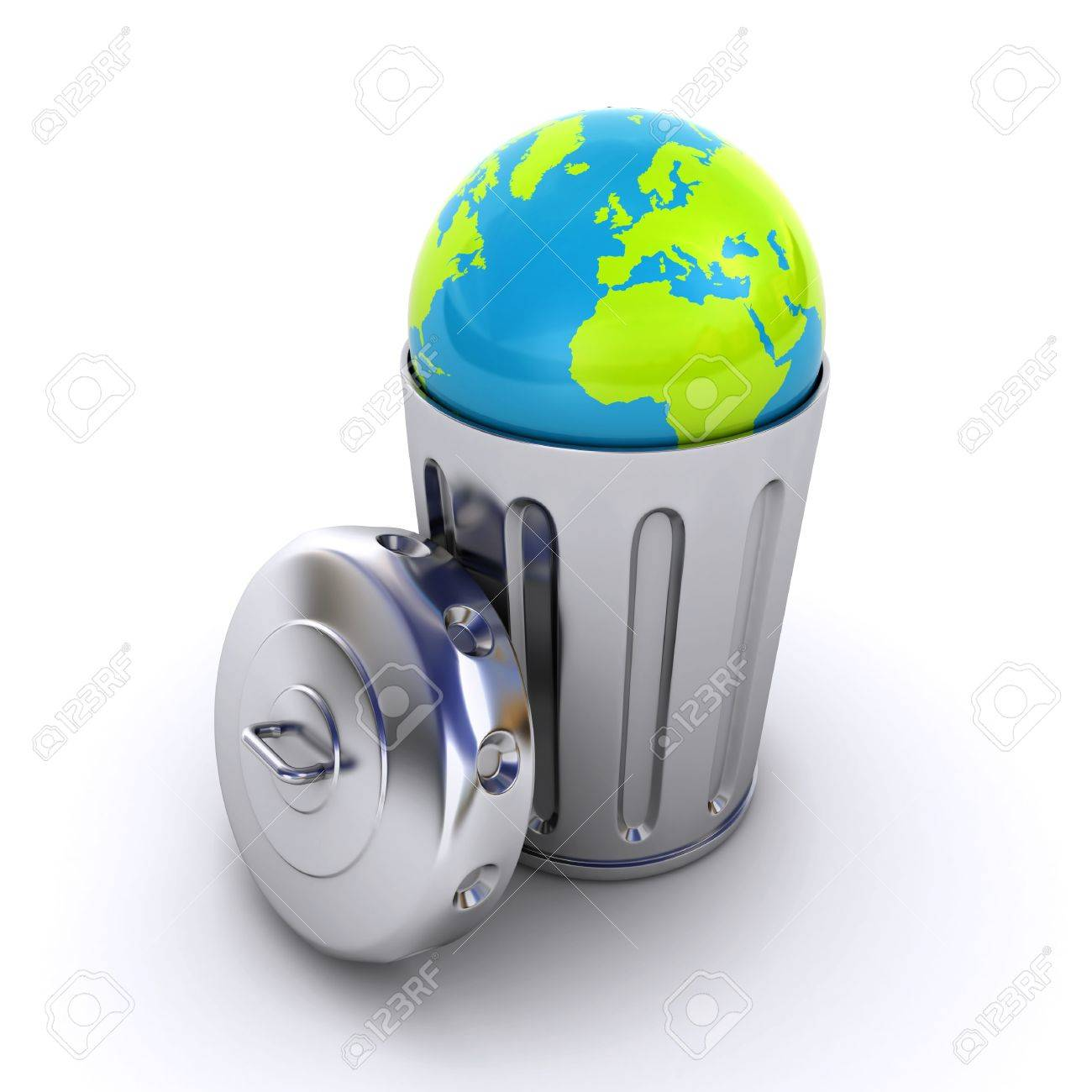 planet earth in a trash can Stock Photo - 19318266