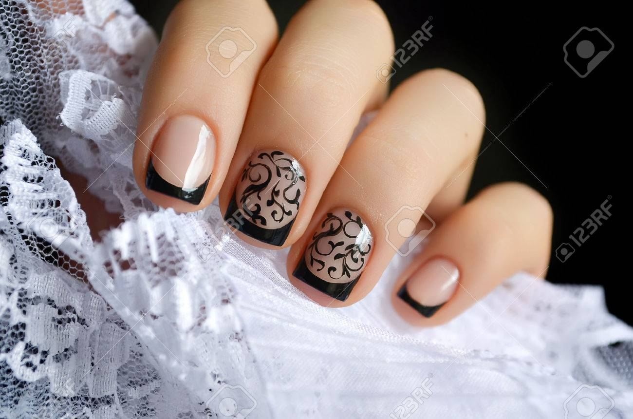 Beautiful Black Nail Art Design And White Lace Stock Photo, Picture ...