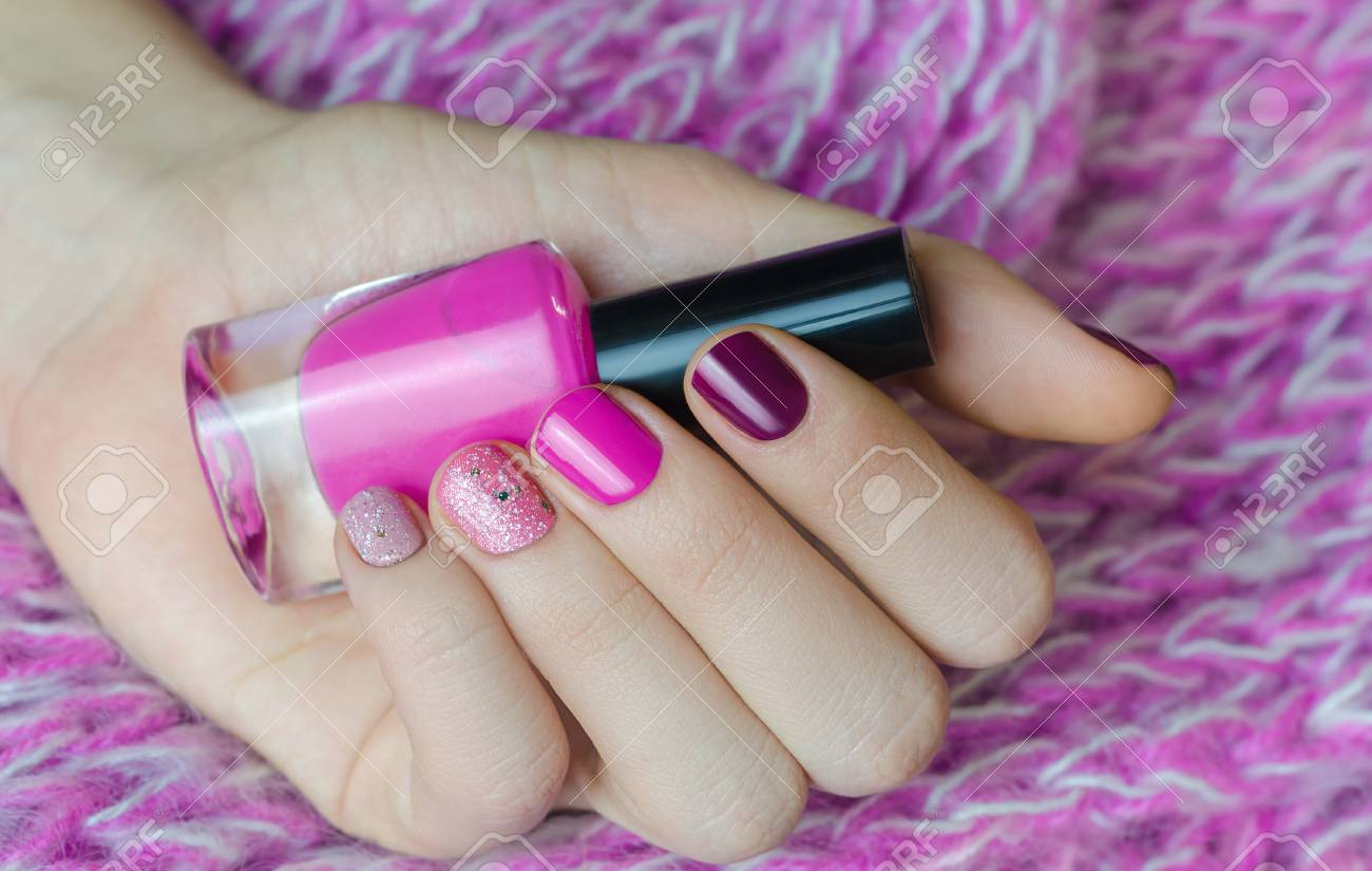 Nail Art With Glitter. Beautiful Female Hand With Pink Manicure ...