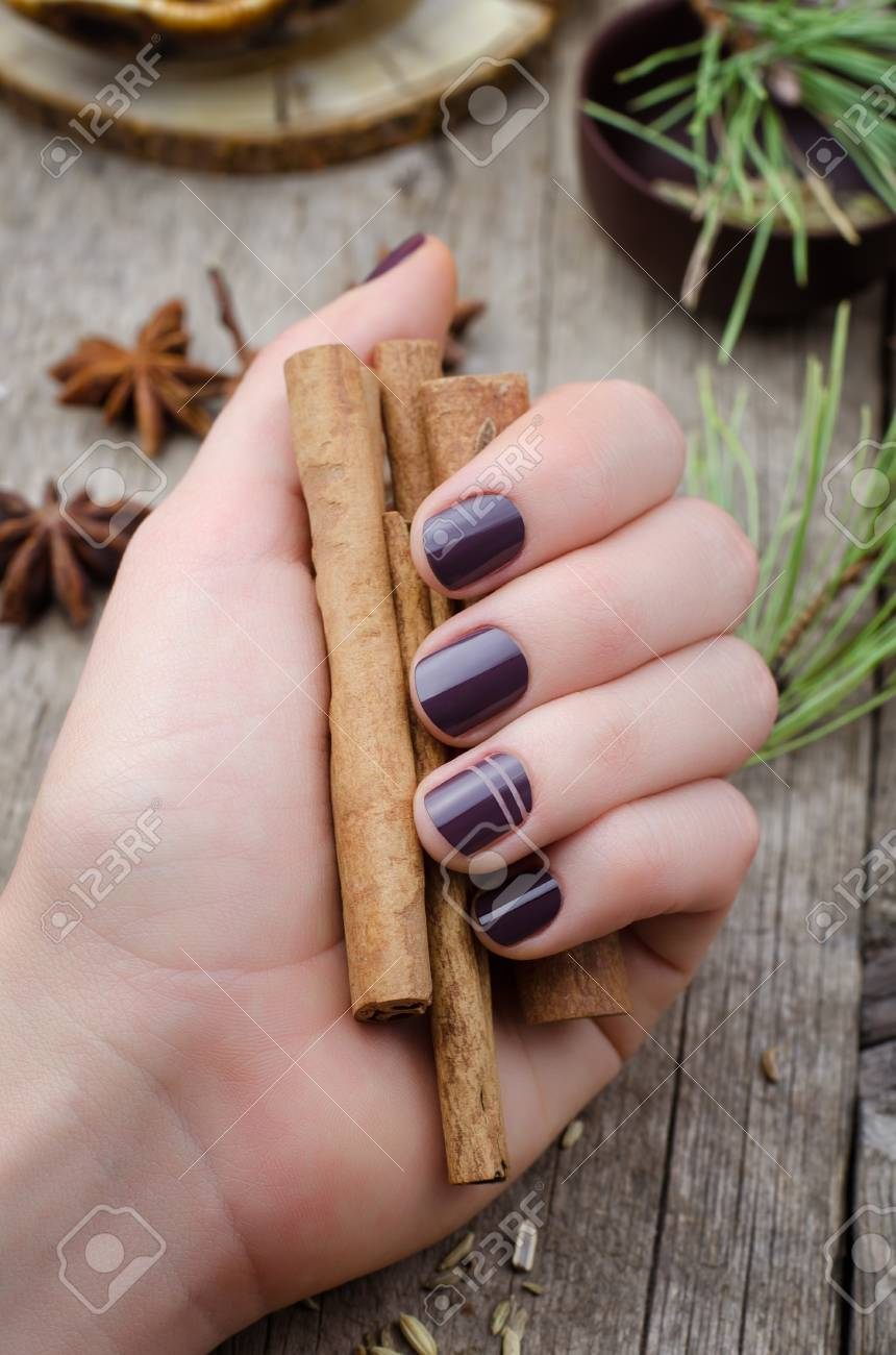 Female Hands With Dark Purple Nail Design Holding Cinnamon. Stock ...